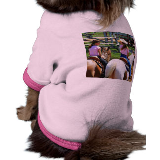 Picture Of Two Young Cowgirls Riding Their Horses Doggie Tee