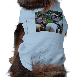 Picture Of Two Young Cowgirls Riding Their Horses Doggie Tee Shirt