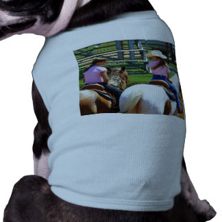 Picture Of Two Young Cowgirls Riding Their Horses Dog Tee Shirt