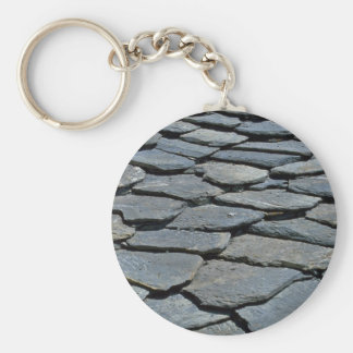 Picture of Typical stone roof, French Alps, France Keychain