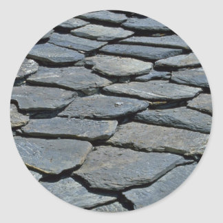 Picture of Typical stone roof, French Alps, France Classic Round Sticker
