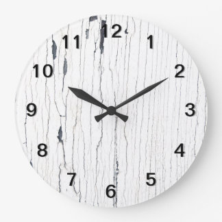 Picture of White Cracked Paint. Wall Clock