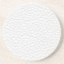 Picture of White Leather. Sandstone Coaster