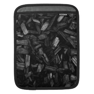 Picture of wood pieces in black and white. iPad sleeve