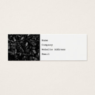 Picture of wood pieces in black and white. mini business card