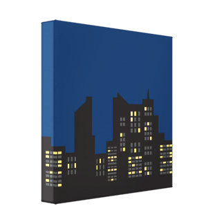 Picture surrounded Linen cloth Night Buildings Gallery Wrapped Canvas