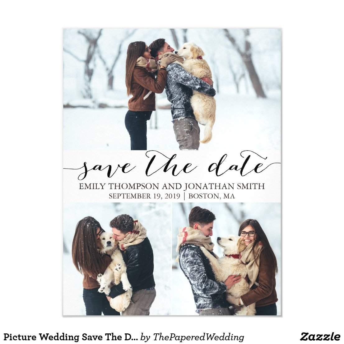 Picture Wedding Save The Date Magnet, Three Photos Magnetic Invitation