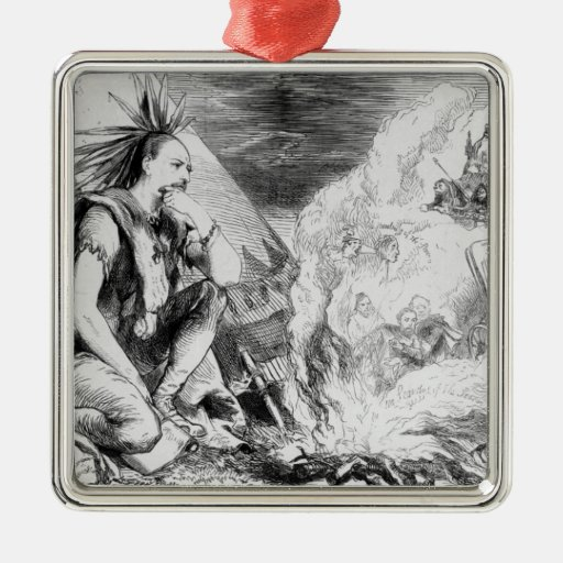 Pictures in the Fire' Square Metal Christmas Ornament