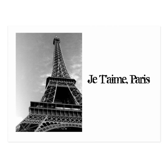 Pictures_of_Eiffel_Tower_black_and_white, Je T'… Postal