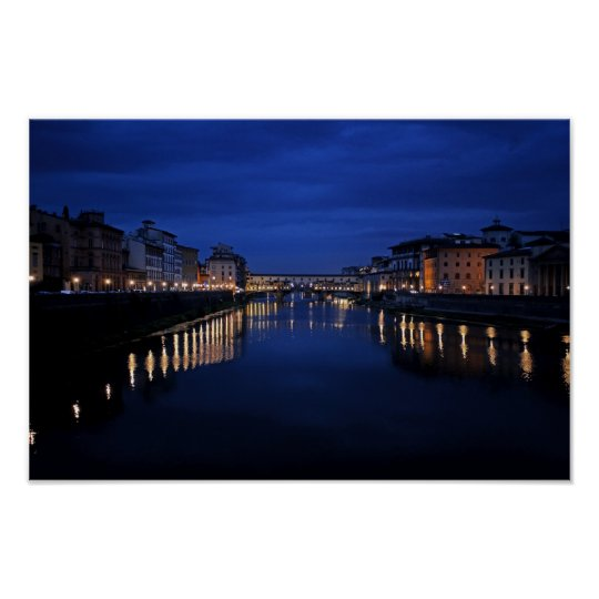 Pictures of Florence: Arno Early Evening: Poster