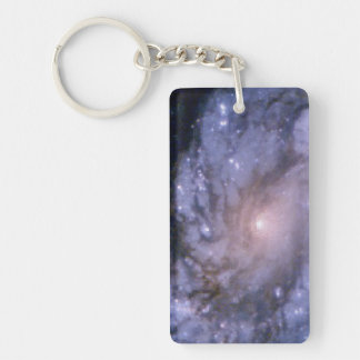 Pictures of Galaxy M100 with Hubble's Old and New Rectangle Acrylic Keychains