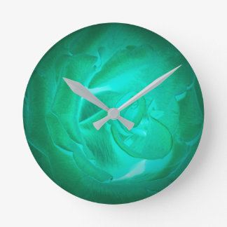 pictures of turquoise roses, imitation glow round clock