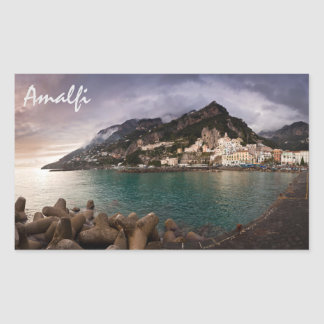 Picturesque Amalfi Coast, Italy Seaside Town Rectangular Sticker