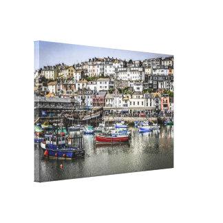 Picturesque Fishing Village of Brixham England Canvas Print