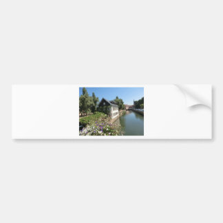 Picturesque house with flowers and canals, France Bumper Sticker
