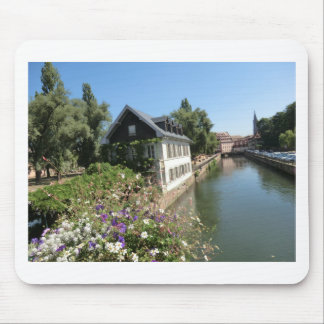 Picturesque house with flowers and canals, France Mouse Pad