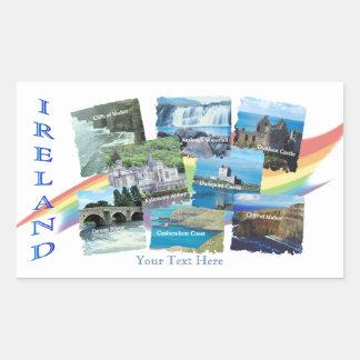PICTURESQUE IRELAND COLLAGE - Eight Scenic Designs Rectangular Sticker