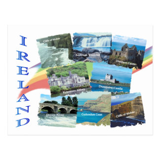 PICTURESQUE IRELAND Eight Scenic Images & Rainbow Postcard