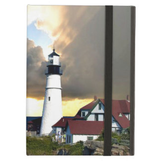 Picturesque Lighthouse on Rocky Shore iPad Air Cover