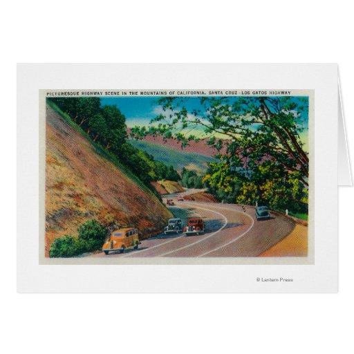 Picturesque Los Gatos Highway near Santa Cruz Card