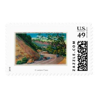 Picturesque Los Gatos Highway near Santa Cruz Stamp