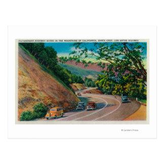 Picturesque Los Gatos Highway near Santa Cruz Postcard