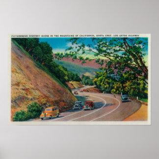Picturesque Los Gatos Highway near Santa Cruz Poster