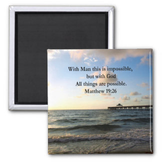PICTURESQUE MATTHEW 19:26 OCEAN PHOTO DESIGN 2 INCH SQUARE MAGNET