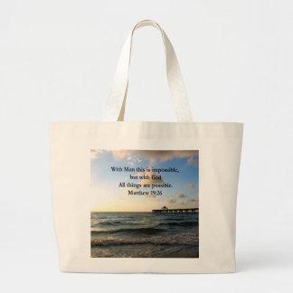 PICTURESQUE MATTHEW 19:26 OCEAN PHOTO DESIGN LARGE TOTE BAG