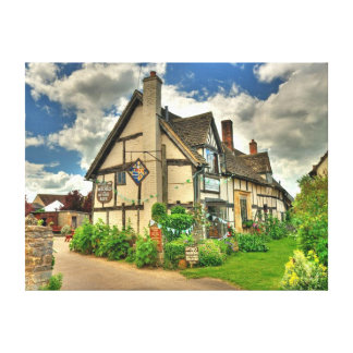 Picturesque Old Fashioned English Country Inn Canvas Print
