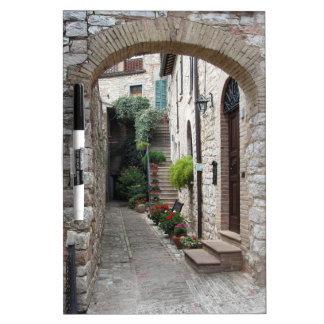 Picturesque old village with flowers dry erase board