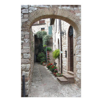 Picturesque old village with flowers stationery