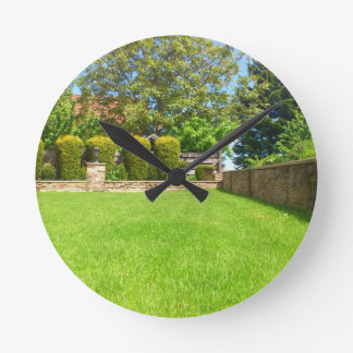 Picturesque Summer Garden Round Wallclocks
