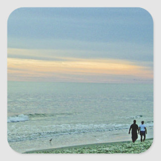 Picturesque Sunset on the Coast Square Sticker
