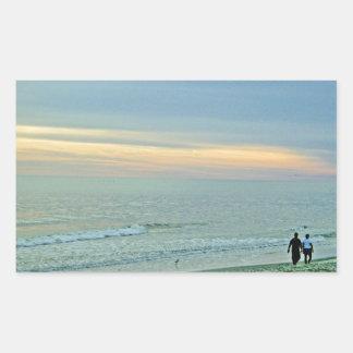 Picturesque Sunset on the Coast Rectangular Sticker