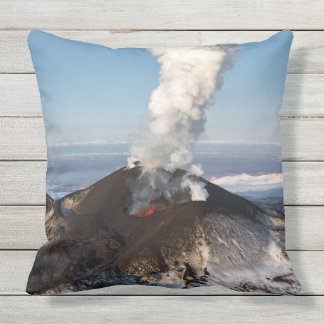 Picturesque view of active volcano outdoor pillow