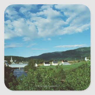 Picturesque village of St. Jean in Quebec, Square Sticker