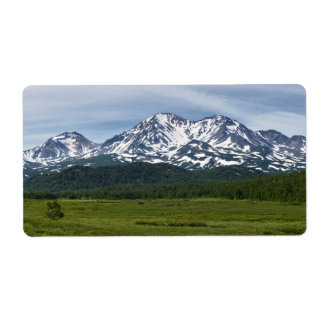 Picturesque volcano landscape and green forest label