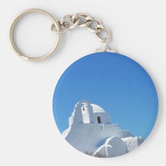 Picturesque Whitewashed Greek Church on Mykonos Basic Round Button Keychain