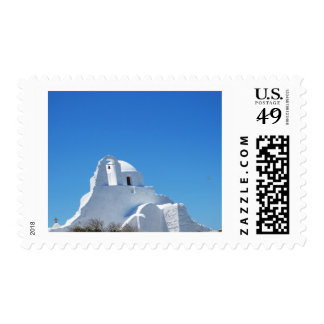 Picturesque Whitewashed Greek Church on Mykonos Stamps