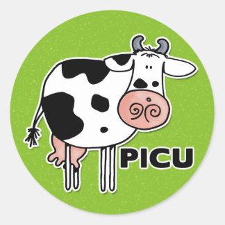 picu cow classic round sticker
