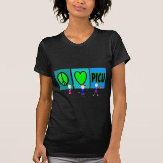 """PICU Nurse Gifts """"Peace Love PICU"""" T-Shirt"""