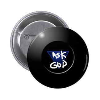 Pida a dios el botón mágico 8Ball Pin Redondo De 2 Pulgadas