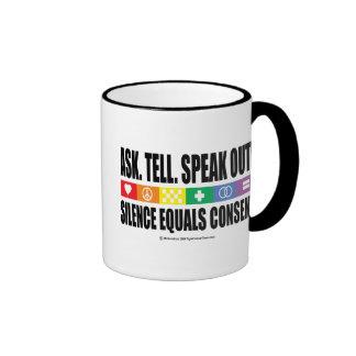 Pida dicen hablan hacia fuera LGBT Taza De Dos Colores