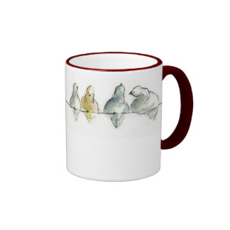 pidgeons en un alambre taza de dos colores