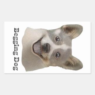 Pidiendo el perro con el texto - productos de Mult Pegatina Rectangular
