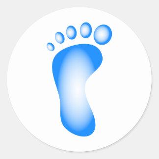 Pie azul transparente pegatina redonda