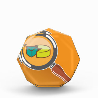 Pie Chart through Magnifying Glass Icon vector Acrylic Award