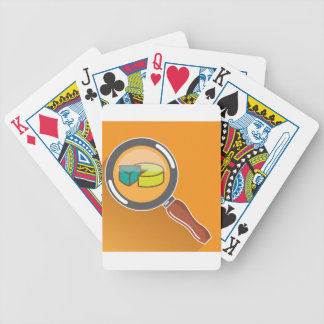 Pie Chart through Magnifying Glass Icon vector Bicycle Playing Cards