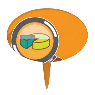 Pie Chart through Magnifying Glass Icon vector Cake Topper